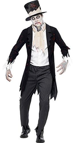 ter Zombie Geist Leiche Bräutigam Halloween Kostüm Kleid Outfit - Schwarz, Large / 42