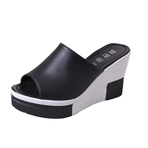FNKDOR Damen Clogs Flipflops Zehentrenner Peep-Toe Schuhe Keilabsatz Sandalen(38,Schwarz)