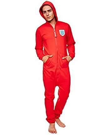 Mens FA England Footballl Onesie Official Adults Fleece Onesie Unisex All In One Large