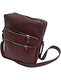 Essart Grainy Print Genuine Leather Messenger Bag (12.50inch X 10inch X 4inch)- Cherry