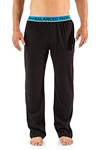 Balanced Tech Men's Solid Cotton Knit Pajama Lounge Pants - Black/Blue - Small