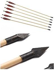 Longbowmaker 12 flèches en bois de cèdre avce des plumes rouges et noires de turquie Tir à l'arc des flèches avec Hunting Broadheads SW2RB4