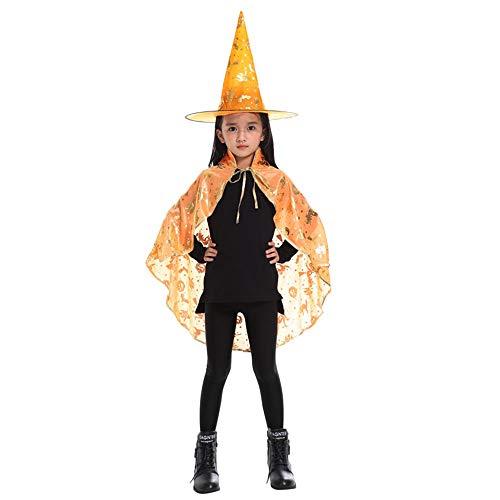 (UJUNAOR Unisex Kinder Halloween Kostüm Zauberer Hexe Umhang und Hut für Halloween Party(Gelb,68CM / 26.7 '' + 36CM / 14,1 ''))