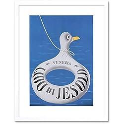 Viaggi turismo Venezia spiaggia Lido di Jesolo Italy stampa artistica con supporto B12x 4696 12 x 16 in - 30.5 x 40.7 cm White