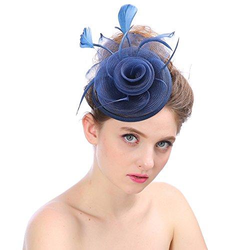 muck Hanf Hut, Mode Hochzeit Frauen Fascinator Penny Mesh Hut Bänder und Federn Partyhut (Marine) (Indiana Jones Kostüme Für Frauen)