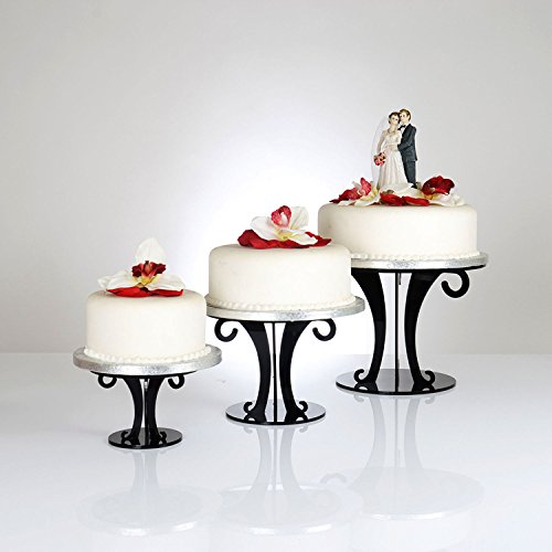Black Wedding Scroll Acrylic Cake Stand - Various Sizes Available   Food-safe 5mm Acrylic With High Polished Finish