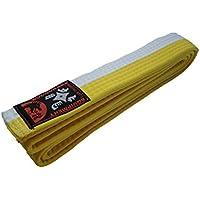 Budodrake Cinturón blanco-amarillo rayado 200 cm para Karate Judo Taekwondo Hapkido Aikido Artes marciales