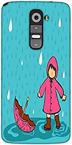 Snoogg Abstract Rainy Season Background With Cute Kid Designer Protective Back Case Cover For LG G2
