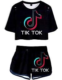 TIK TOK 3D Print Top niñas y pantalones cortos 2 piezas de manga corta de la camiseta de tapa y los cortocircuitos determinada del entrenamiento Correr Tracksui adecuados for hombres y mujeres