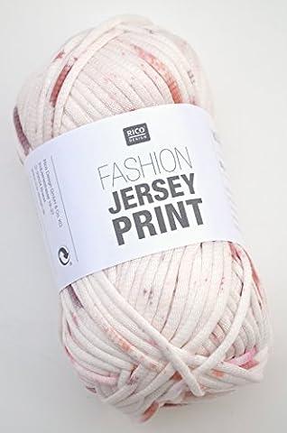 Rico Fashion Jersey Print FB. 001–écru/rose, jersey Ruban Fil, été