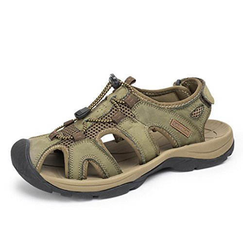 Men's Genuine Leather Outdoor Breathable Sandals green