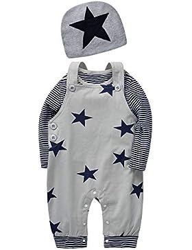 SANMIO Newborn Baby 3 Pcs Strampler Spielanzug Baumwolle Langarm Bodysuit Unisex Kleinkinder Streifen Jumpsuits...