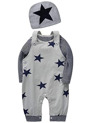 SANMIO Newborn Baby 3 Pcs Strampler Spielanzug Baumwolle Langarm Bodysuit Unisex Kleinkinder Streifen Jumpsuits mit Hut & Geifer-Lätzchen (3-6 Monate, Grau)