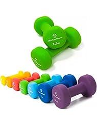2er-Set Hanteln 0,5kg, 0,75kg, 1kg, 1,5kg, 2kg, 3kg & 4kg / rutschfeste & griffige Neoprenoberfläche »Peso« Kurzhanteln (Aerobic-Gewichte) in verschiedenen Gewichts- und Farbvarianten. Das Hantelset besteht aus 100% Eisen - Die Gewichte bzw. das Kurzhantel-Set eignen sich für Gymnastik, Fitnesstraining, Physiosport & Heimtraiing. Das Hantelpaar ist schön griffig, einfach zu reinigen & resistenz gegen Schweiß & Feuchtigkeit