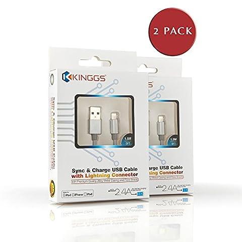 [certifié Apple MFi] kinggs® Premium 5m/1,5m en nylon tressé Extra Long C488broches à USB Data Sync & Charge Câble d'éclairage avec boîtier en aluminium–Convient pour iPhone 3S/6/6S Plus/6plus/5S/5C/5/5/5, iPad Pro/Air 2, iPad Mini/4/3/2, iPod 5ème génération/nano 7ème génération–2,4A–Garantie