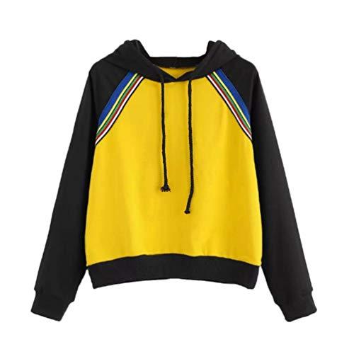 Bringbring Damen Sport Hooded Pullover Herbst Winter Kontrast Farbe LäSsig Locker Warme Streifen TräGerlos NäHen Sweatshirt(XS, Gelb)