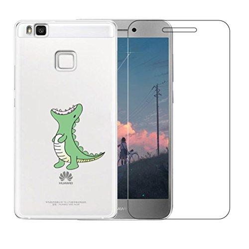 Huawei P9 Lite Hülle mit Hartglas Displayschutz, Blossom01 Cute Funny Kreative Cartoon Transparent Silikon Bumper für Huawei P9 Lite - Grünes Krokodil