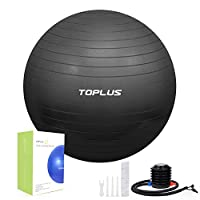 TOPLUS Exercise Ball, Gym Ball Supports 2200lbs Yoga Ball Anti-Burst & Extra Thick, Swiss Ball with Quick Pump Birthing Ball for Yoga, Pilates, Fitness, Pregnancy & Labour (Black-55cm)