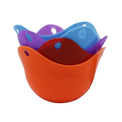 igraver Escalfar huevos vasos huevo caza furtiva Cups, Cápsulas de silicona la caza furtiva, COCEDOR de huevos para microondas o hornillo,, pack de 4