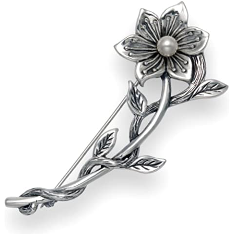 Antiqued-Spilla a forma di fiore, in argento Sterling con perla bianca, misura: grande, 65 mm x 22 mm 11gms