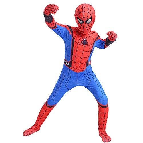 007 Kostüm Charaktere - JHDUID Kinder Spider ManHomecoming Spiderman Cosplay Superheld Body Anzug Overalls,L(140)