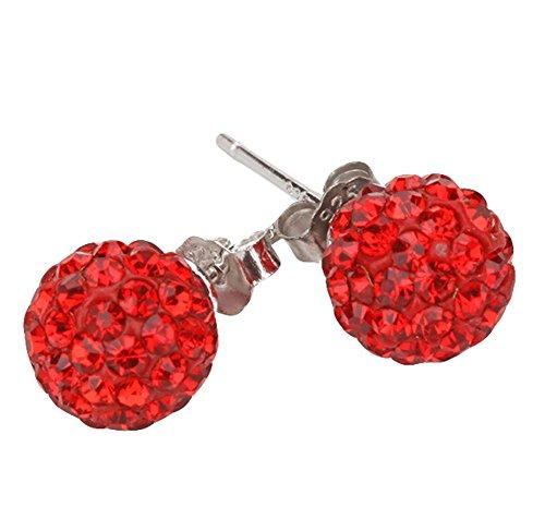 Scrox 1 Par 8mm Pendientes Moda Mujeres Elegantes Niñas Joyería Diamond Ball Pendientes Stud Clip Para Vacaciones Regalos de Año Nuevo (rojo)