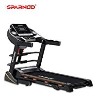 Sparnod Fitness STH-3500 (4 HP Peak) Automatic Treadmill (Free Installation Service) - Foldable Motorized Running Indoor Treadmill for Home Use