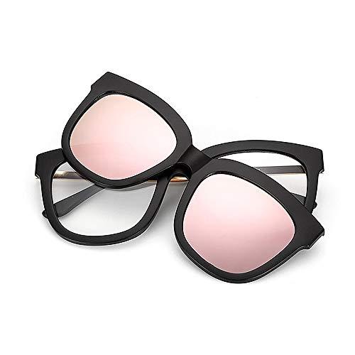 Vollformat-Retro-Sonnenbrille mit austauschbaren Gläsern für Männer Frauen Farbige Linse Unbreakable TR90-Rahmen Clip-on-UV-Schutz-Sonnenbrille mit Magnetic Brille (Farbe : Rosa)