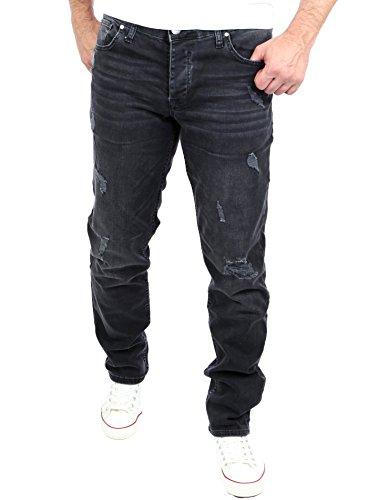 Reslad Jeans Herren Slim Fit I Stretch Jeans Hose Männer in Destroyed-Look I Riesenauswahl an Größen I Jeans in schwarz Denim I RS-2069 W32 / L32 - 511 Männer Skinny Stretch Jeans