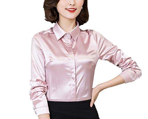 YOUMU Damen Satin Silk Langarm Button Hemd Formelle Arbeit Seidige Bluse (Seidige Langarm-bluse)