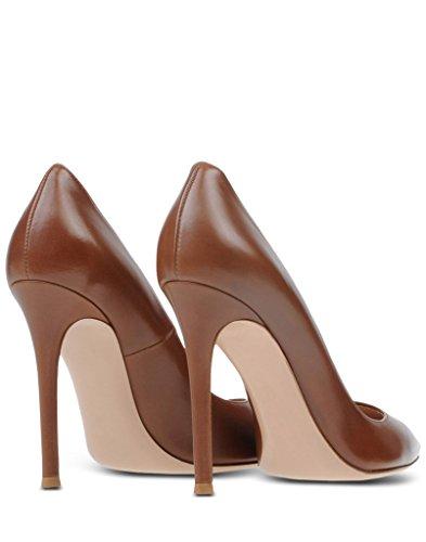 EDEFS Femmes Artisan Fashion Escarpins Unis Classiques Lady Travail Bureau Pointus Des Couleurs Chaussures à talon haut de 100mm Chocolat