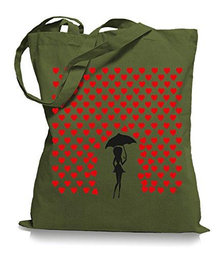 Ma2ca® Heart Rain - Jutebeutel Stoffbeutel Tragetasche / Bag WM101 Olive Green
