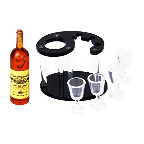 Champagne Bottiglia Di Vino Rack Con Quattro Bicchieri 1:12 Bambola