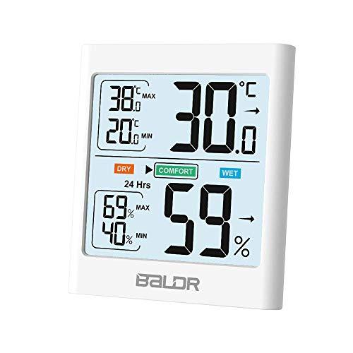 Innen Thermometer Hygrometer, Digitales Thermo-Hygrometer mit Bewegungsmelder, Weiße Hintergrundbeleuchtung, Temperatur und Luftfeuchtigkeitmessgerät für Raumklimakontrolle Raumluftüerwachtung