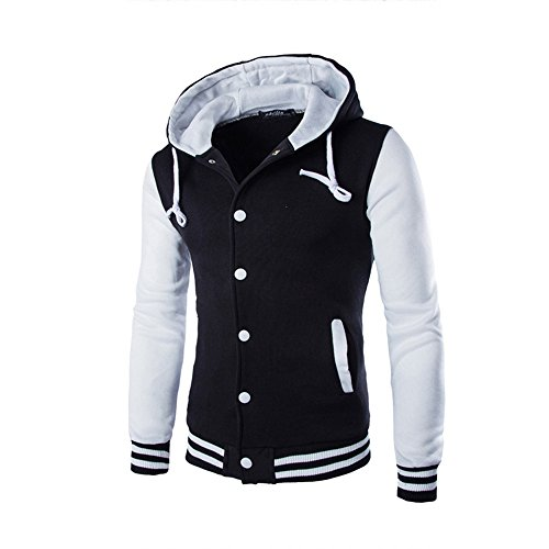 Männer Bekleidung Loveso Jackets Stitching Farbe Herren Jacke Herbst Winter Slim Fit Sports BaseballJacke Kapuzenjacke Streetwear (36 (M), Weiß)