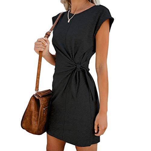 Damen Blusenkleid Casual Tunika Sommerkleider Rundhals Kurzarm T Shirt Kleid Mode Slim Freizeitkleid Minikleid (L,Schwarz)