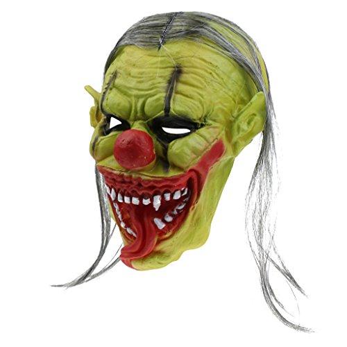 MagiDeal Horror Clown Maske Latex Maske Halloween Karneval Kostüm Fasching Party - Grün Böse Clown