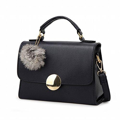 Handtaschen Mode Paket Schulter Schräge Kreuz Hand Haar Ball Kleine Quadratische Tasche Schwarz