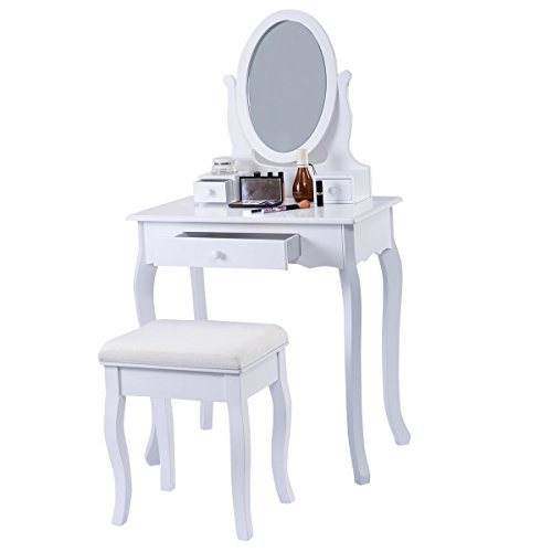 Schminktisch Frisierkommode Kosmetiktisch Schmucktisch mit Spiegel Frisiertisch mit Hocker SpiegelMDF Sitzbank