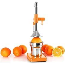 OneConcept Exprimidor de naranjas manual palanca (Funciona sin electricidad, piezas extraíbles, fácil manejo) Naranja