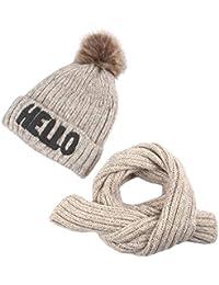 Boomly Cappello con Sciarpa Invernale Outdoor Caldo Morbido Cappello in  Lavorato a Maglia e Lunghe Sciarpa a1379ea90376