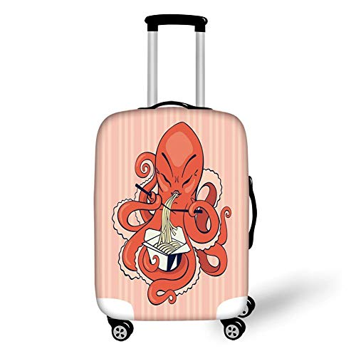 Travel Luggage Cover Suitcase Protector,Octopus Decor,A Cartoon Octopus Eating Asian Noodles with Chopsticks in Tentacles Retro Style Decor,Orange Pink,for Travels 19x27.5Inch Chopstick Stand