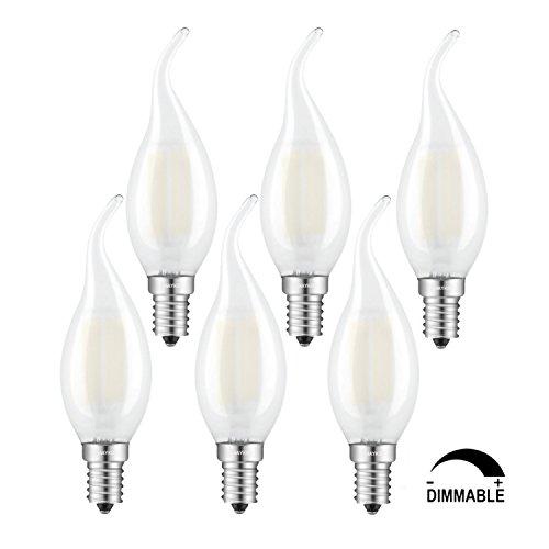 Frosted Led (TAMAYKIM C35 6W Dimmbar Glühfaden LED Kerze Lampe, 3000K Warmweiß 600 Lumen, 60W Entspricht Glühlampe, E14 Fassung, Flamme Form, Matt Glas, 360° Abstrahlwinkel, 6er-Pack)