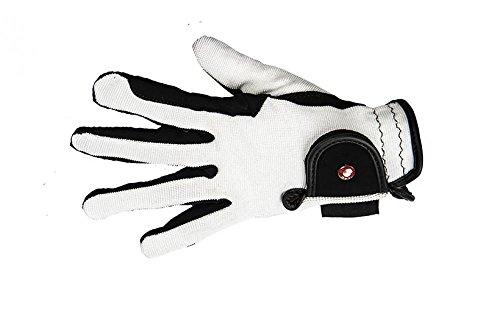 HKM Damen Reithandschuh-Professional Nubuk Lederimitat Handschuhe, Schwarz/Weiß, M