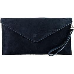 modamoda de - ital. Ledertasche Clutch Unterarmtasche Abendtasche Citytasche Wildleder T106 , Präzise Farbe:Dunkelblau