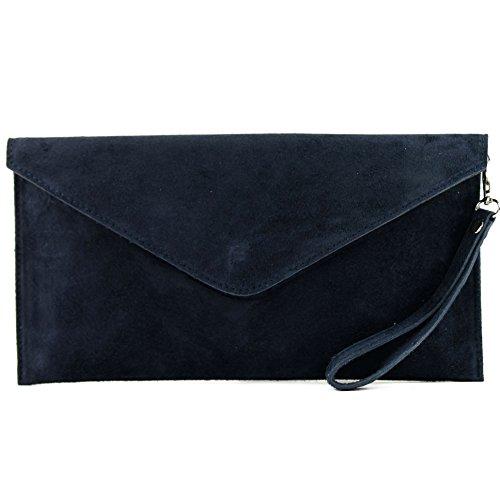 modamoda de - T106 - ital Clutch/Abendtasche aus Wildleder, Farbe:Dunkelblau - Wildleder-schuh-tasche