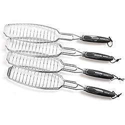 Rustler Grillroste/Grillwender Fisch in silber | 4er Set | verchromtes Metall | perfekt geeignet zum Grillen von ganzen Fischen