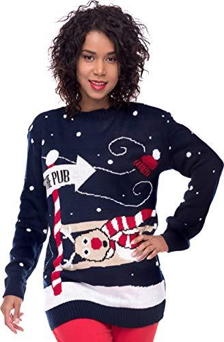 Loomiloo Weihnachten Christmas Sweater Pullover Pulli Damen Weihnachtspullover Xmas Einhorn REH Bambi Rudolph Rentier rote Puschelnase (M/L, to The Pub Dunkelblau)
