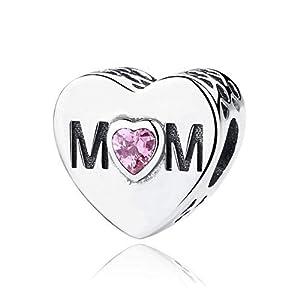 Ningan Charm-Anhänger mit Herz-Mutter, rosa Zirkonia, 925 Sterlingsilber, passend für Pandora und andere europäische Charm-Armbänder