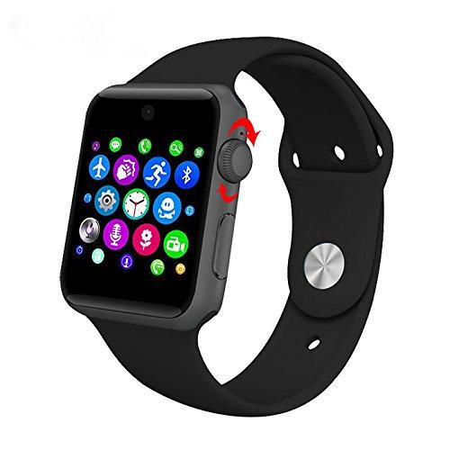Lemumu ZAOYIMALL Bluetooth DM 09 Smart Watch unterstützt SIM-Karte HD-Bildschirm MTK2502 C Magic Knopf Smartwatch für Iphone für Android, Schwarz (Microsoft-übung Band)